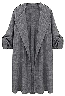 Jaycargogo Women's Winter Wide Lapel Pocket Coat Long Trench Coat Outwear Coat