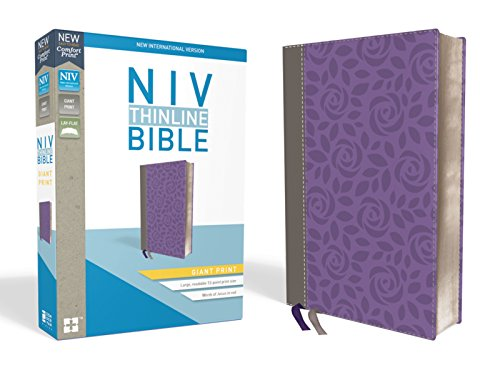 NIV, Thinline Bible, Giant Print, Leathersoft, Gray/Purple, Red Letter Edition, Comfort Print ()
