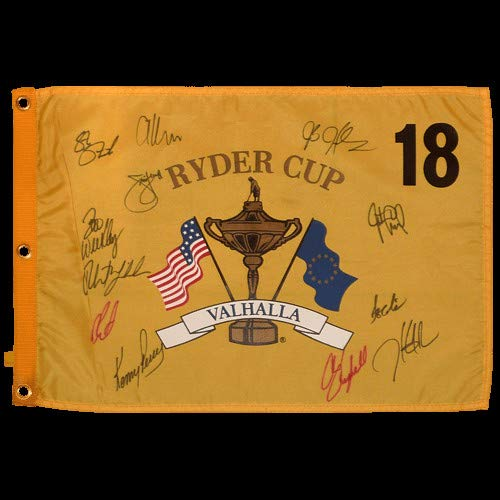 (2008 Ryder Cup Valhalla Golf Pin Flag Autographed Signed Auto by 12 Team USA Members #2 - Certified Authentic)