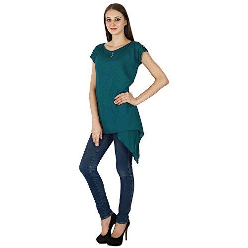 Las mujeres del verano de Boho Top manga corta sólido ocasional de la túnica de la playa Vestido de tirantes Teal verde