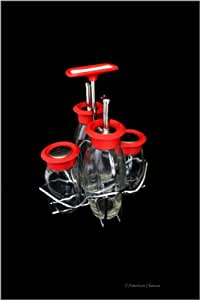 Red Color Tops Glass Oil and Vinegar Salt Pepper Shakers Cruet Set with Caddy