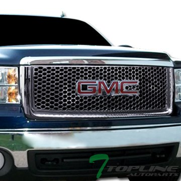 Topline Autopart Chrome Round Hole Mesh Front Hood Bumper Grill Grille ABS For 07-13 GMC Sierra 1500 / 1500 Denali ; 09-13 Sierra 1500 Hybrid (Gmc Sierra Denali Grille Insert)