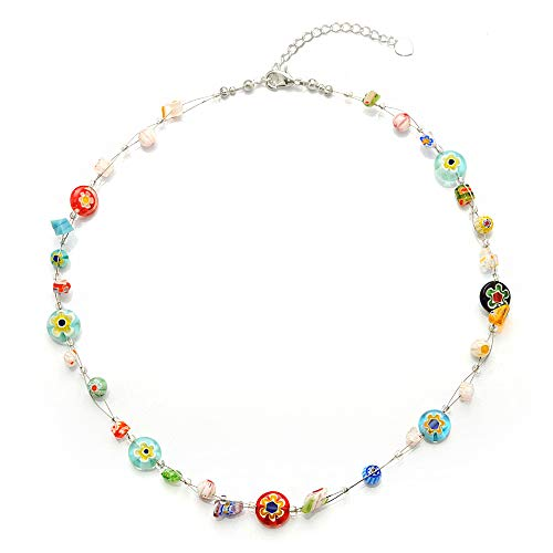 Chuvora Venetian Murano Glass Bead Multi-Colored Millefiori Flower Round Disc Necklace, 16-18 inches
