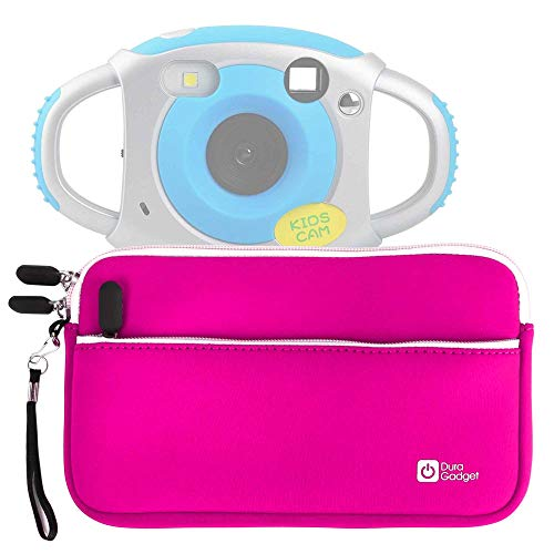 Pink Water-Resistant Neoprene Case with Front Zip Compartment -Upgrow Creative Kids Digital Camera Rechargeable Kids Cameras Mini 1.77 inch Screen HD Video Action Camera Camcorder - by DURAGADGET
