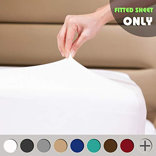 COSMOPLUS Fitted Sheets Queen Fitted Sheet,4 Way Stretch Micro-Knit,Snug Fit,Wrinkle Free,for Standard Mattress and Air Bed Mattress from 8