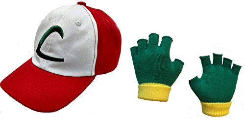 Ash Ketchum Embroidered Hat and Trainer Gloves (Embroidered Hat & Trainer Gloves)