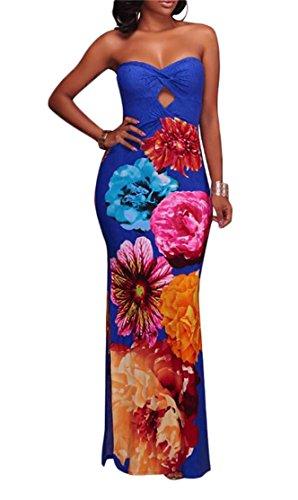 Sexy Bustier Imprimé Floral Fendu Partie Moulante Bleu De Robe Longue Des Femmes Domple