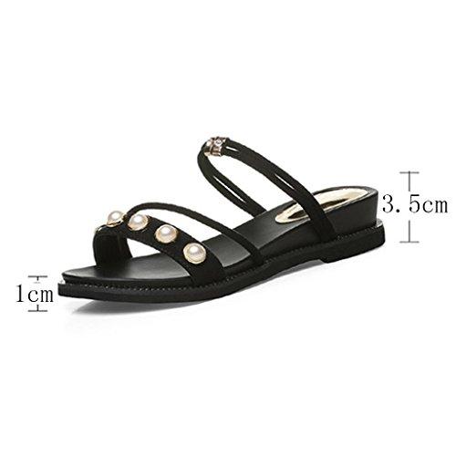 Tamaño Zapatillas Planos Zapatos Desgaste Mujer Scrub Color Zapatos Mujer EU36 5 De Punta Abierta Negro Dos Vamp CN35 UK3 Verano Sandalias Fpaav