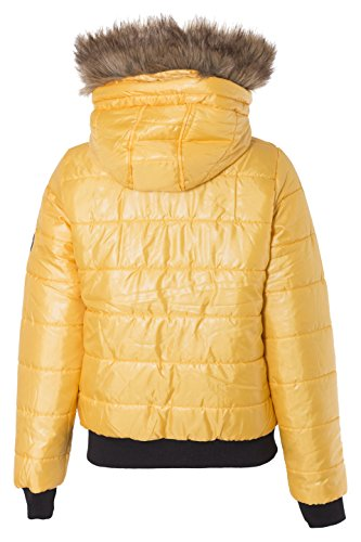 Bomber Fur On Removable Badges Ladies Padded Coat Hood Puffer Womens NOROZE Mustard Jacket ApzRv5w8