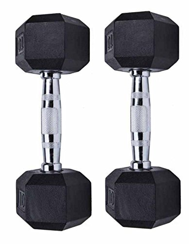 GYMENIST Set of 2 Hex Rubber Dumbbell with Metal Handles, Pair of 2 Heavy Dumbbells Choose Weight (12 LB)