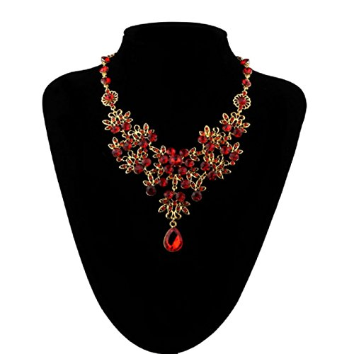 Ikevan Hot Selling Necklace Women Prom Wedding Bridal Jewelry Crystal Rhinestone Necklace Earring Sets Red