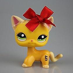 Littlest Pet Shop Orange Yellow Short Hair Cat Kitty LPS #2194 Red Bowknot