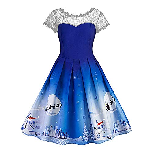 Kineede Womens Halloween Half Sleeve Draped Hollow Out Bats Printed Midi Vintage Dress Fancy Dress for Women Party Dress (Color : Blue, Size : M) ()