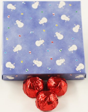 Chocolate Raspberry Liqueur Italian Butter Cream Candies with Red Foils in a 1 Pound Snowman Box (Raspberry Liqueur)