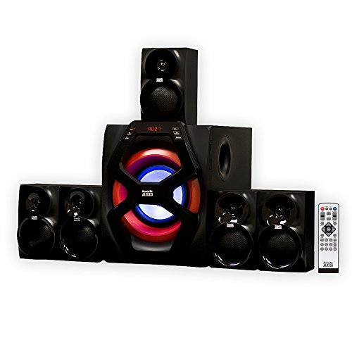 Acoustic Audio by Goldwood 5.1 Speaker System 5.1-Channel with LED lights and BluetoothHome Theater Speaker System, Black (AA6101)