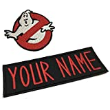 Lanstang Set of Cusom Personalized Ghostbusters Name Tag & No Ghost Logo Iron on Patch Halloween Costume