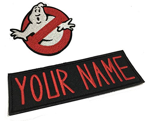 Lanstang Set of Cusom Personalized Ghostbusters Name Tag & No Ghost Logo Iron on Patch Halloween Costume -