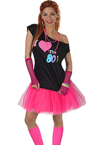 Women's I Love The 80's T-Shirt 80s Outfit Accessories (2X/3X, Hot Pink)]()