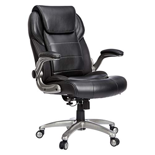 AmazonCommercial Ergonomic High-Back Leather Executive Chair with Flip-Up Arms and Lumbar Support,...