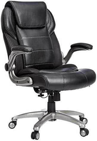 AmazonBusiness Ergonomic High-Back Bonded Leather Executive Chair with Flip-Up Arms and Lumbar Support, Black