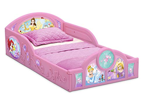 (Delta Children Princess Sleep and Play Toddler Bed with Attached Guardrails | Features Colorful Graphics of Cinderella, Belle, Ariel and Rapunzel)