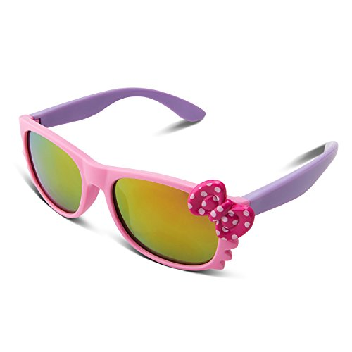 RIVBOS RBK002 Rubber Flexible Kids Polarized Mirrored Sunglasses Age 3-10 (Pink Mirror Lens)