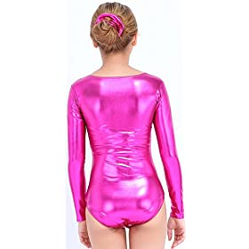 - 41dO32FOFTL - Speerise Girls Kids Long Sleeve Shiny Metallic Dance Gymnastics Leotard