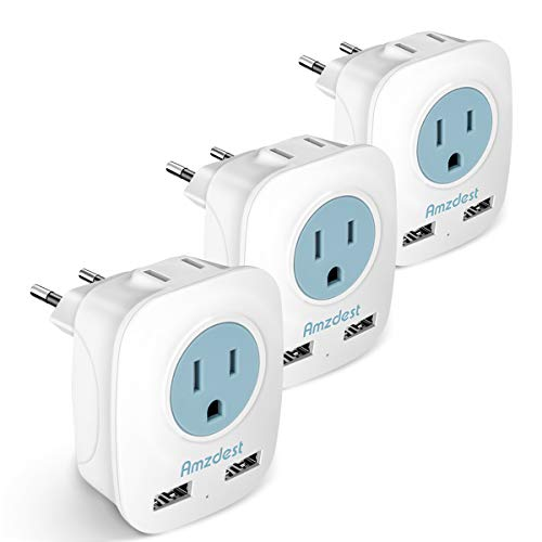 European plug adapter 3 Pack, Amzdest International Power Adapter with 2 USB& 2 AC Port, 4 in 1 Outlet Adapter for US to…