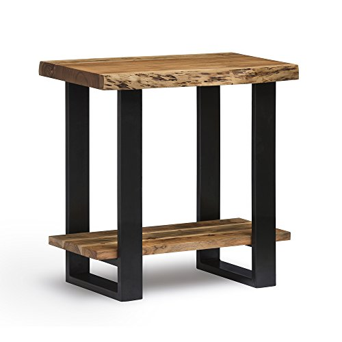 Alpine Live Edge Solid Wood End Table, Natural (Table End Natural)