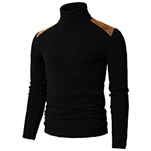 H2H Mens Slim Fit Basic Ribbed Thermal Turtleneck Pullover Sweaters