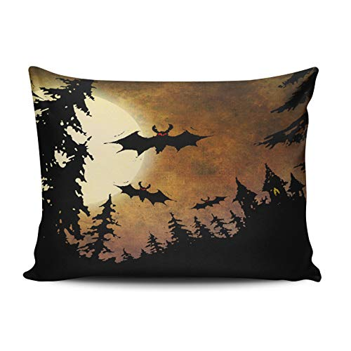 XIUBA Pillowcases Halloween Bats Castle and Moon Customizable Cushion Decorative Rectangle 16X24 Inch Size Throw Pillow Cover Case Hidden Zipper One Sided Design Printed -
