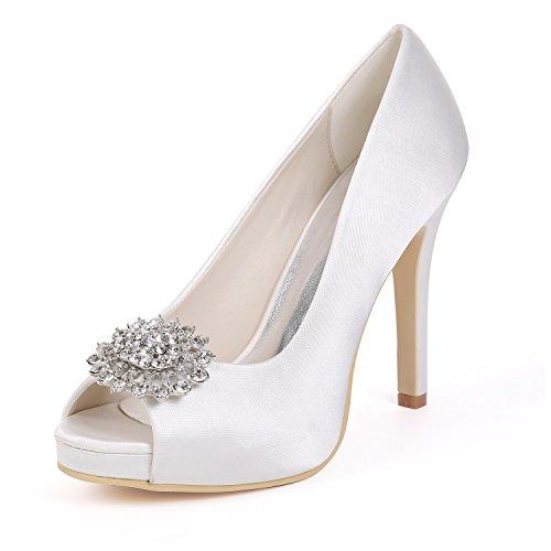 Orteil White De Slip Talons Moojm Strass Plate Sur 5 Bouche Cm Hauts Mariée Poisson Mariage forme 1 Chaussures Avec 11cms R1AxqYHAwn