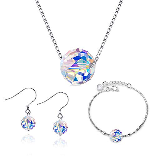 - 925 Sterling Silver Aurora Borealis Swarovski Crystal Statement Beaded Pendant Necklace, Dangle Earring and Strand Bracelet Jewelry Set for Women and Girls (Necklace, Earring and Bracelet Jewelry Set)