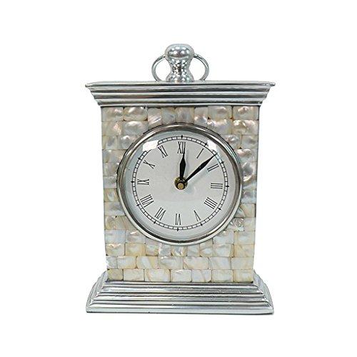 ZAZAZA Health UK Clock- Clock Nordic Elegant Single-Sided Fresh Aluminum Shell Desk Clock Romantic Mute Home Classical Sitting Bell Welcome by ZAZAZA