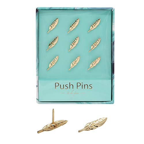 (Boobu Gold Feather Shape Thumbtacks Creative Metal Push Pins for Memo Board or Cork Board, 9pcs/Set Home Office Gift)