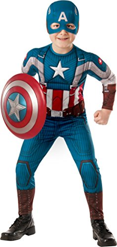 Boys Captain America Kids Child Fancy Dress Party Halloween Costume, S (4-6) (Kids Captain America Costume With Shield)