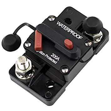 Cllena 200 Amp Circuit Breaker 12V-48V DC with Manual Reset and Disconnect Button for Car Truck Rv Motorhome Marine Automotive Audio Stereo System Trolling Motor Winch etc.