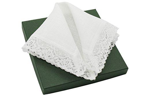 Irish Wedding Handkerchief (Thomas Ferguson Women's Small White Linen Lace Handkerchief 10