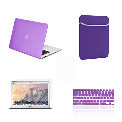 - TOP CASE - 4 in 1 Essential Bundle Rubberized Hard Case, Keyboard Cover, Screen Protector, Sleeve Bag Compatible MacBook Air 13