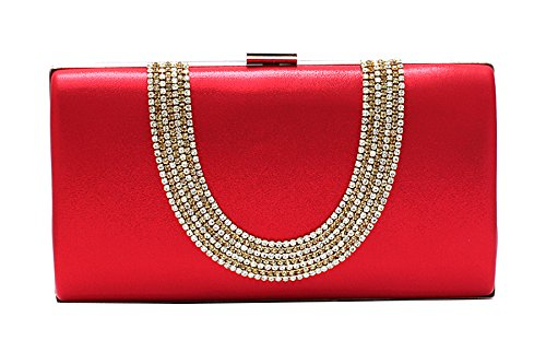 (EPLAZA Large Capacity Rhinestone Beaded Women Evening Clutch Bags Handbags Wedding Party Purse (red))