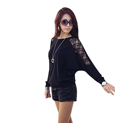 - Laimeng New! Womens Long Sleeve Casual Blouse Dolman Lace Loose T-Shirt Batwing Tops (M, Black)