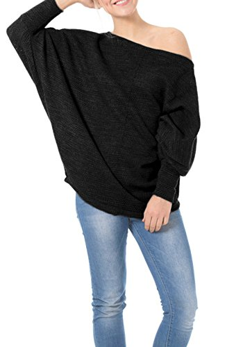 Chuanqi Women's Knitted Off Shoulder Batwing Sleeve Loose Pullover Tops Sweater