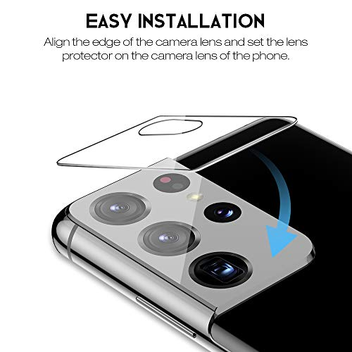 4 Pack LK 2 Pack Screen Protector & 2 Pack Tempered Glass Camera Lens Protector Compatible with Samsung Galaxy S21 Ultra, Positioning Tool, Fingerprint Support, HD-Ultra thin, Flexible TPU Film