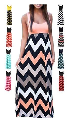 LIYOHON Women's Summer Chevron Striped Print Dress Tank Long Maxi Dresses for Women Pink-B-L