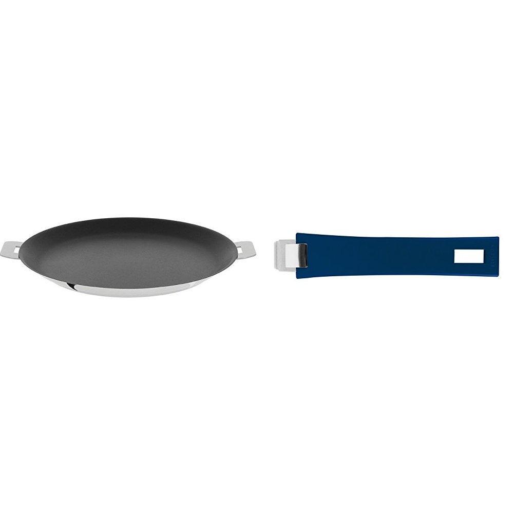 Cristel CR30QE Non-Stick Crepe Pan, Silver, 12'' with Cristel Mutine Pmaeb Handle, Long, Blue Ink