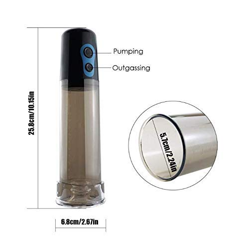 GaChe 1SL Adult Male Cylinder Electric Vacuum Pump Bigger Effect for Men and Couple White + Silicone Colorful Rings