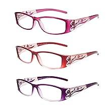 LIANSAN Designer Readers Fashion Women's Glasses 1.0 1.25 1.5 1.75 2.0 2.25 2.5 2.75 3.0 3.25 3.5 3.75 4.0 Reading Glasses L3711 3 packs +1.75
