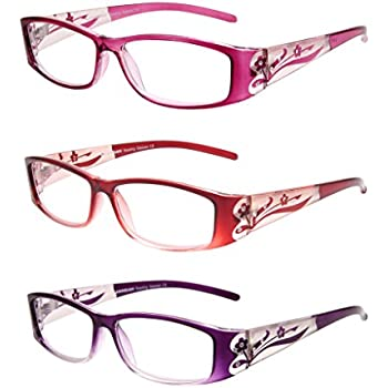 1bcbc27fca LianSan Designer Fashion Retro Ladies Readers with Bling 3 Pack Reading  Glasses for Women with Rhinestone Eye Strain Magnifying Glass 2.0 1.5 1.00  2.5 1.25 ...