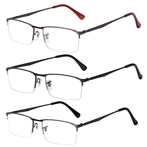 Liansan 3 Pairs Quality Readers Metal Half Frame Rectangular Reading Glasses for Men L6281(+2.50)