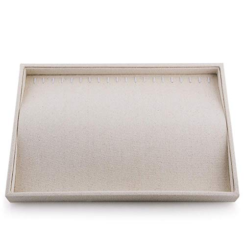 Oirlv Stackable 17 Hooks Sackcloth Jewelry Tray Necklace/Pendant/Long Chain Display Showcase Organizer(Pack of 1,Beige) ()